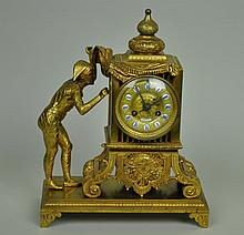 FRENCH BRONZE FIGURAL CLOCK