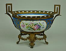 SEVRES STYLE PORCELAIN & METAL-MOUNTED CENTEPIECE
