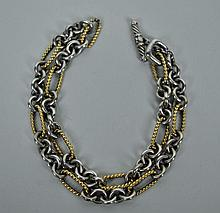 DAVID YURMAN STERLING & 18K FIGARO CHAIN NECKLACE