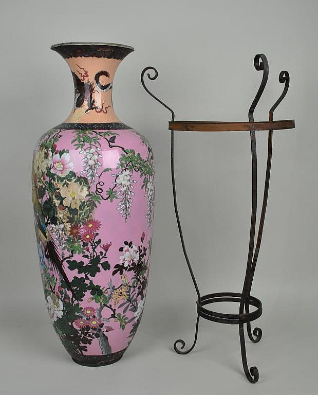 LARGE JAPANESE CLOISONNE VASE (as-is)
