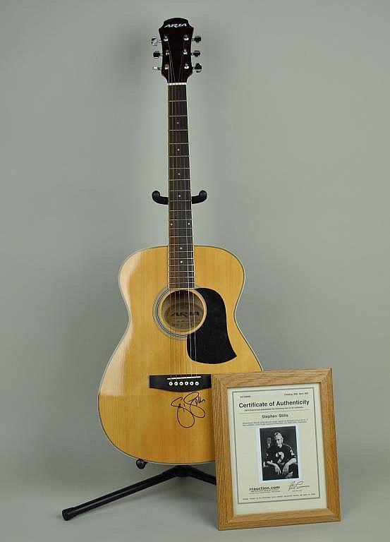 stephen stills autographed aria guitar. Black Bedroom Furniture Sets. Home Design Ideas