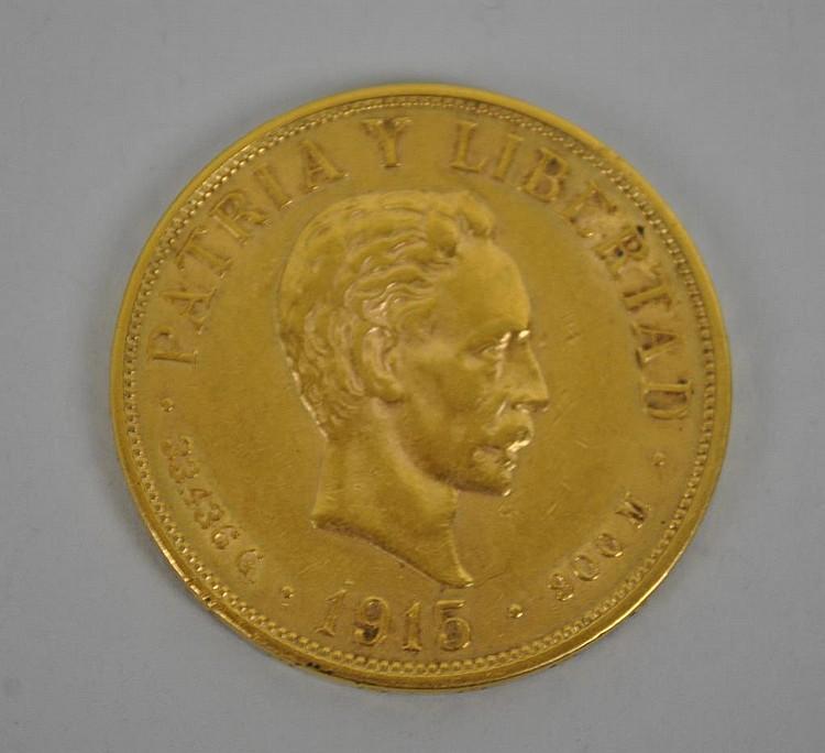 1915 CUBAN VEINTE PESOS GOLD COIN