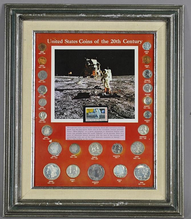 FRAMED COLLECTON - US COINS OF THE 20TH CENTURY