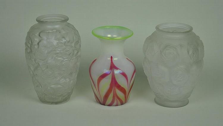 (3) GLASS VASES