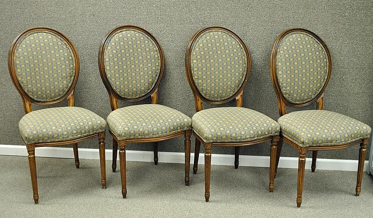 SET (4) LOUIS XVI STYLE UPHOLSTERED SIDE CHAIRS