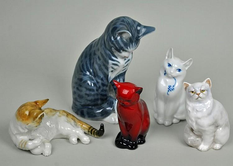 (5) PORCELAIN CATS