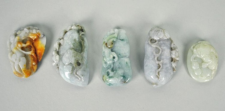 (5) CARVED JADE TOGGLES