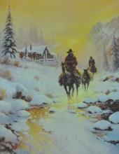 Gerald Harvey Jones Painting Print on Canvas Art Deco Cowboy Rainy Morning 12x16