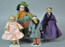 (4) SMALL BISQUE HEAD DOLLS
