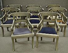 SET (8) INDIAN SILVERED METAL-MOUNTED ARM CHAIRS