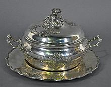 CONTINENTAL SILVER COVERED TUREEN & UNDERPLATE