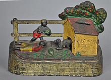 ANTIQUE CAST IRON BANK - BOYS STEALING WATERMELON