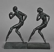 MANNER OF ALLAN CLARK - PAIR DECO BRONZES