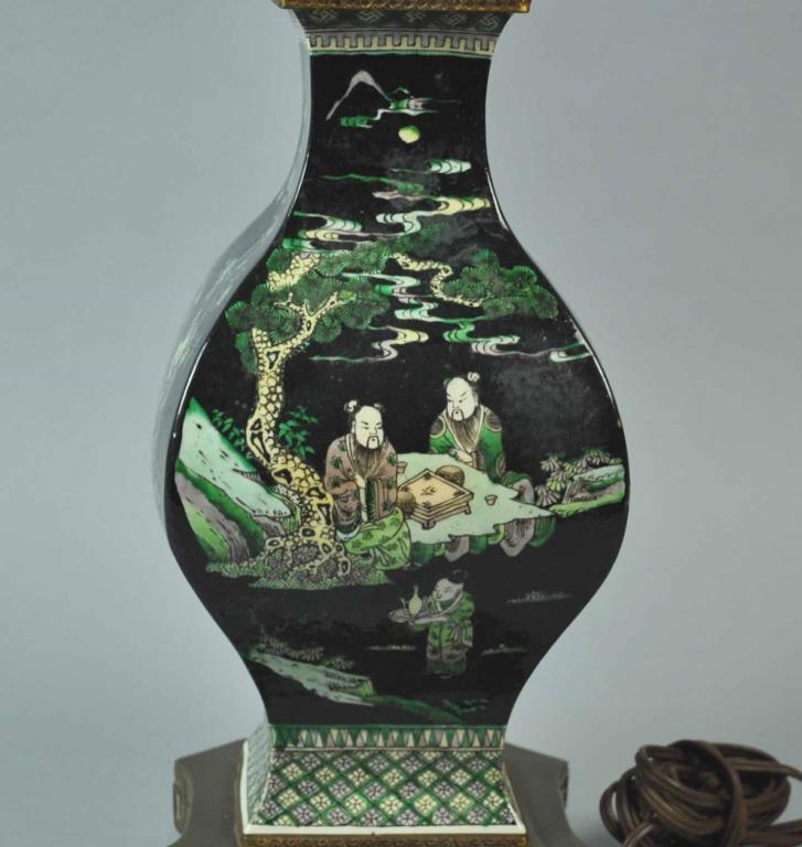 chinese famille noir vase lamp. Black Bedroom Furniture Sets. Home Design Ideas