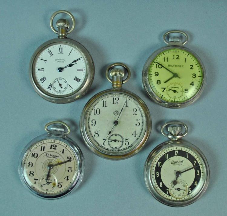 5 vintage pocket watches