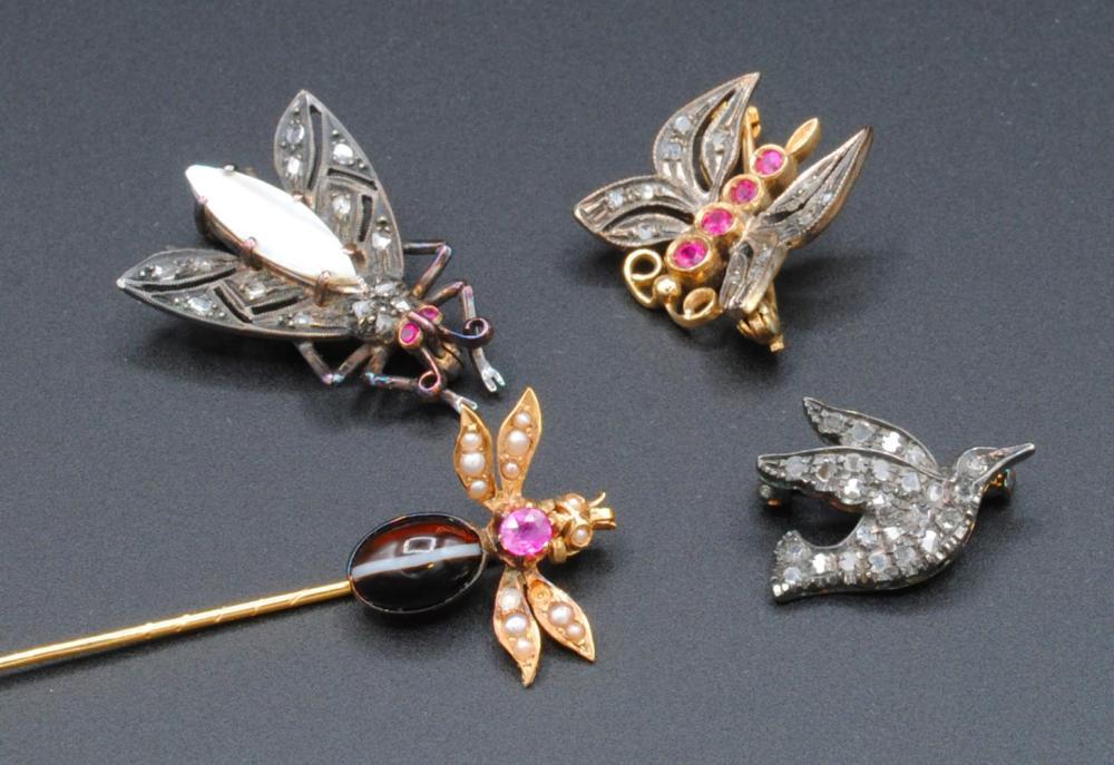 (4) PIECE DIAMOND & GEM BIRD & INSECTS PIN GROUP