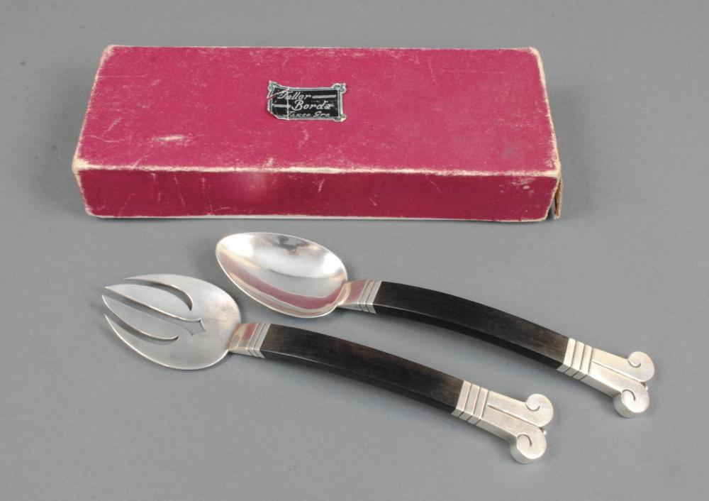 HECTOR AGUILAR MEXICAN SILVER & ROSEWOOD SALAD SET