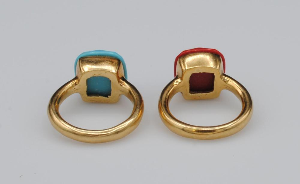 (2) ITALIAN 18K MATCHING RINGS - TURQUOISE & CORAL