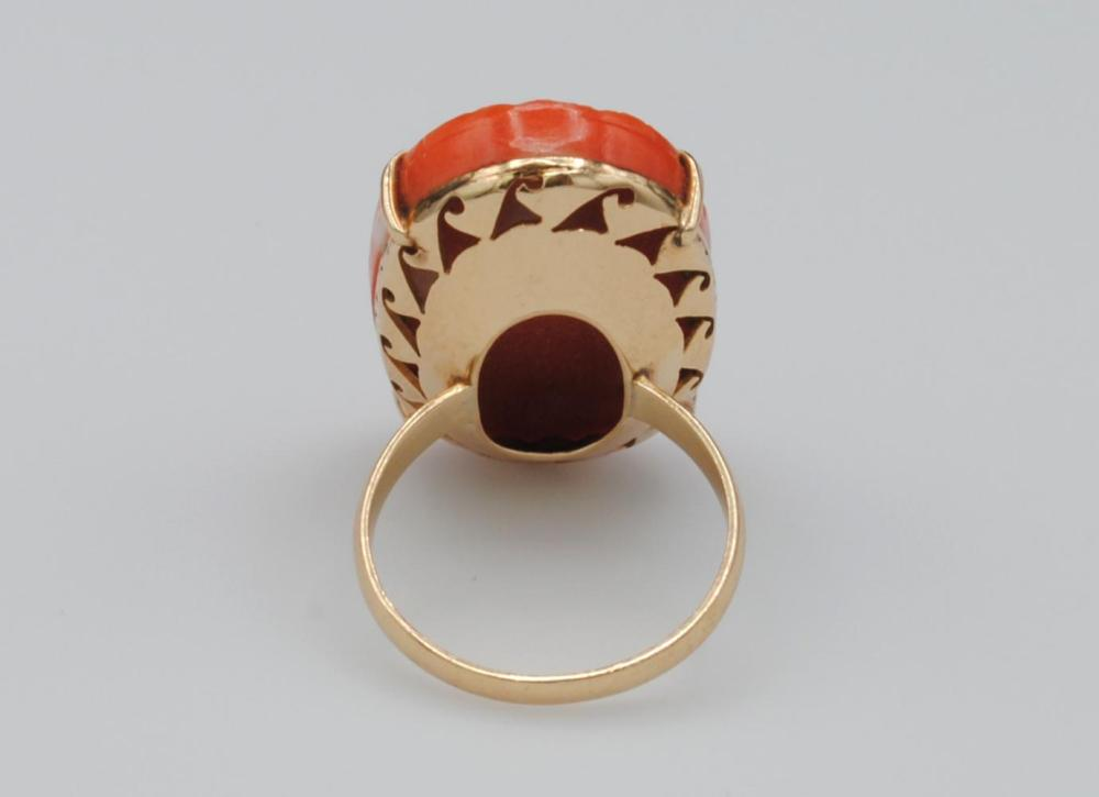 14K CARVED SALMON CORAL RING