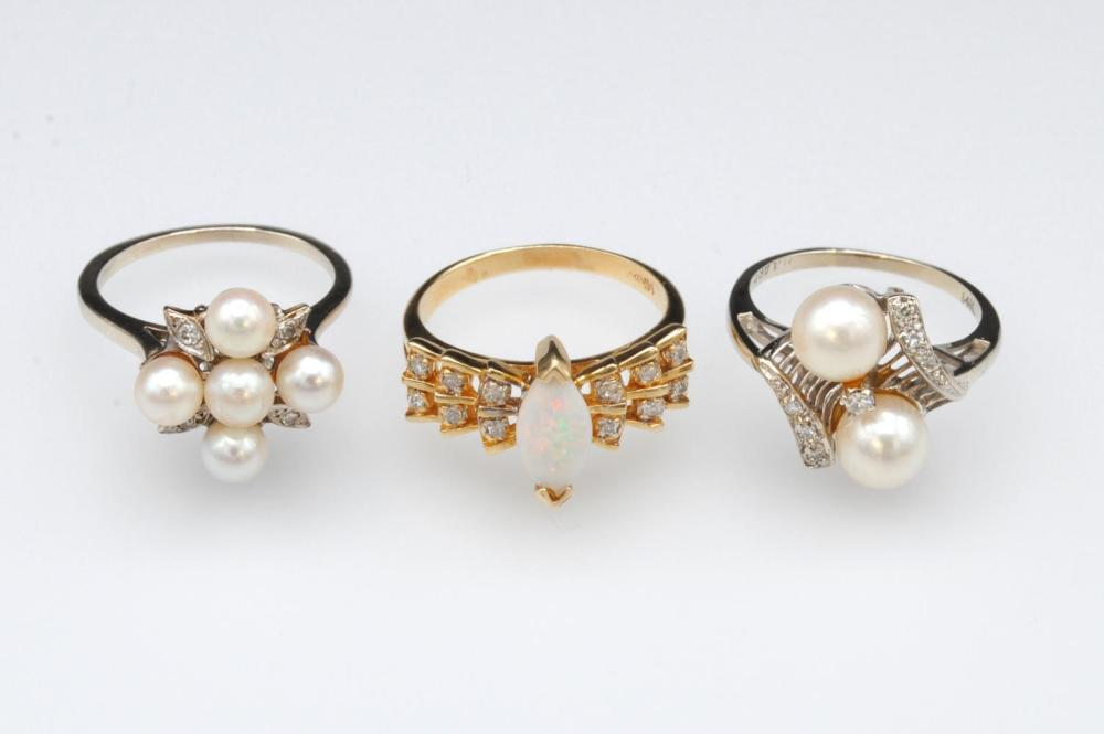 (3) 14K DIAMOND ACCENTED PEARL & OPAL RINGS