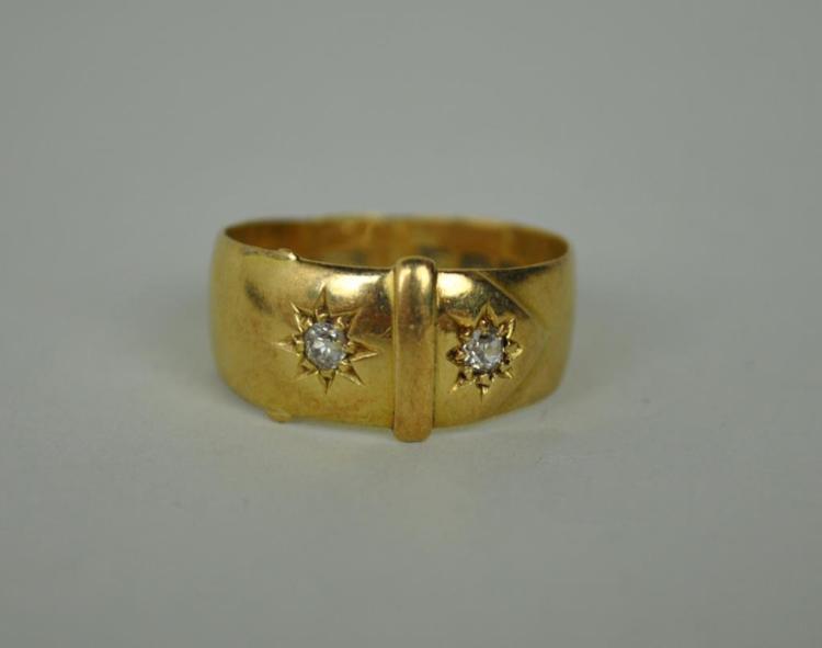 ENGLISH VICTORIAN BUCKLE FORM DIAMOND RING