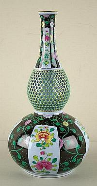 HEREND DOUBLE-GOURD FLORAL VASE with pierced neck,