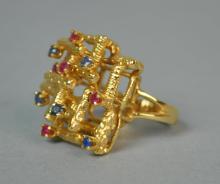 GOLD & GEMSTONE COCKTAIL RING