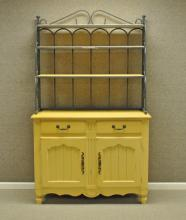 YELLOW PAINTED & WROUGHT IRON BAKERS RACK