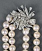 PEARL NECKLACE WITH REMOVABLE DIAMOND BROOCH CLASP