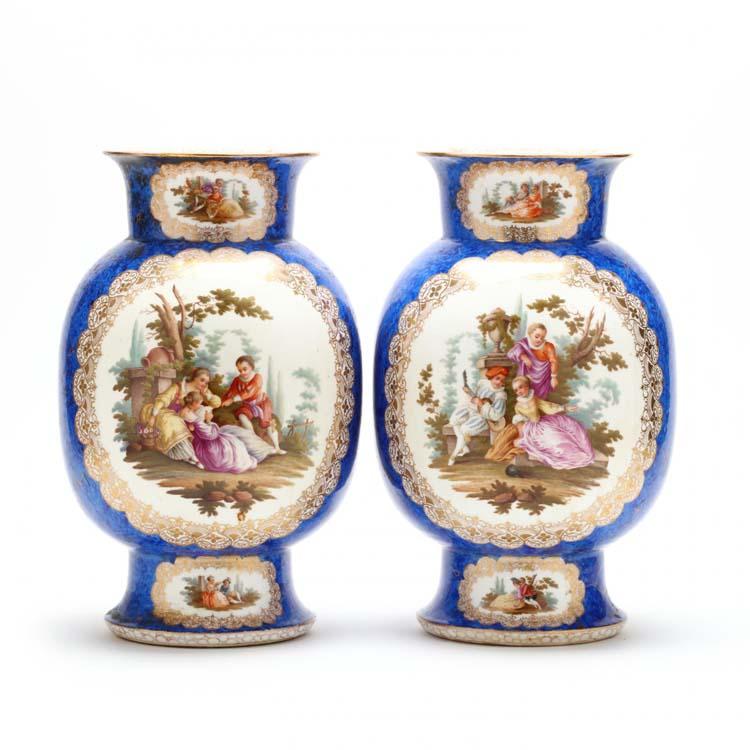 A Pair Of Helene Wolfsohn Dresden Vases