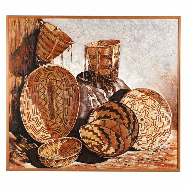 Stan Natchez (CA, b. 1954), Still Life with Shoshone Baskets