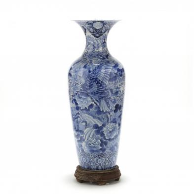 Japanese Arita Blue and White Floor Vase