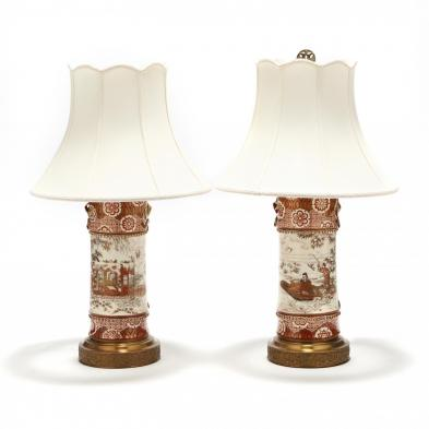 A Pair of Japanese Porcelain Kutani Vases Mounted as Lamps
