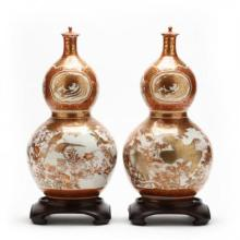 Pair of Japanese Kutani Double Gourd Jars with Lids