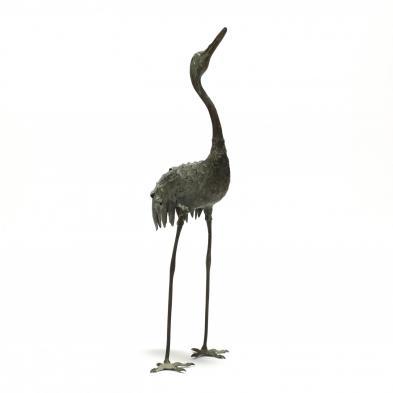 Japanese Meiji Period Bronze Standing Crane