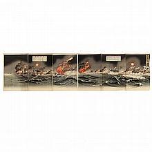 Six Panel Russo-Japanese War Print by Utagawa Kokunimasa (1874-1944)