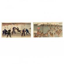Two Russo-Japanese War Triptych Prints by Kiyochicka Kobayashi (1847-1915)