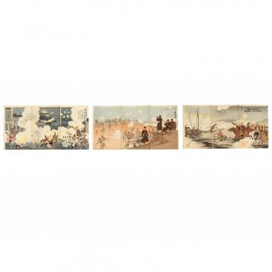 Three Russo-Japanese War Triptych Prints by Kiyochicka Kobayashi (1847-1915)