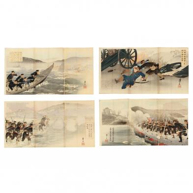Four Russo-Japanese-War Triptych Prints by Getsuzo (active 1904-1905)