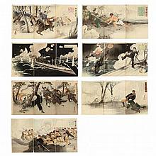 Seven Russo-Japanese War Print Triptychs by Migita Toshihide (1863-1925)