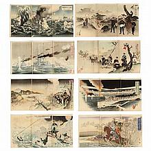 Eight Russo-Japanese War Triptychs by Kokunimasa, Kyoko, Gakyo, and Others