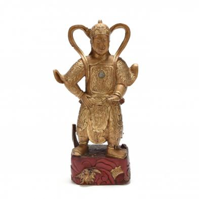 Large Chinese Gilt Lacquer Warrior Figure