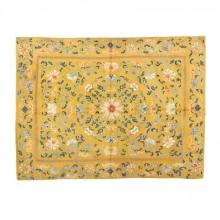 Chinese Embroidered Imperial Yellow Silk Throne Seat Cover