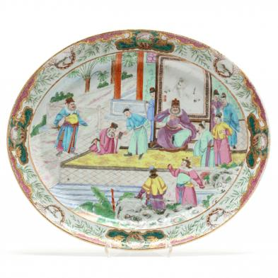 Rare Chinese Export Porcelain Rose Mandarin Platter