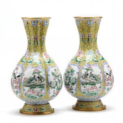 A Pair of Canton Enamel Vases