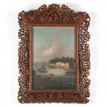 China Trade Painting of the Dutch Folly Fort on the Pearl River Below Canton