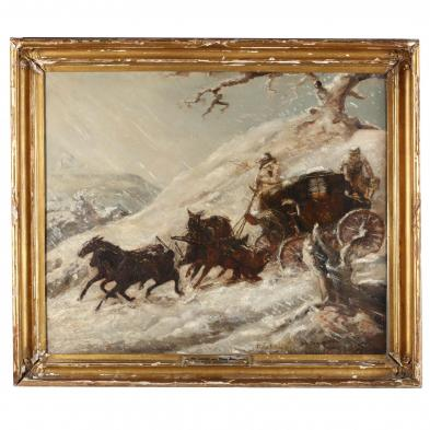 att. Charles Cooper Henderson (Br., 1803-1877), Mail Coach in Snow