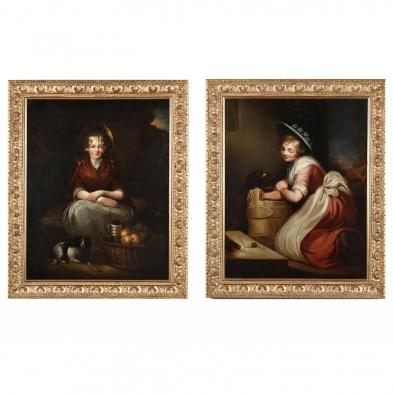 Two Antique English School Paintings of Young Women