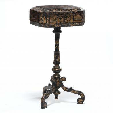 English Chinoiserie Decorated Sewing Stand