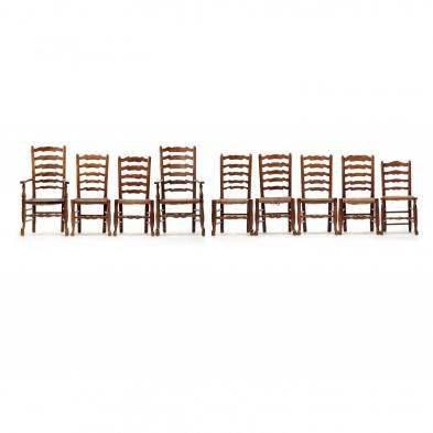 An Assembled Set of Nine English Country Dining Chairs